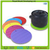 Newest design colorful ripple hot pot holder plate holder silicone table mat