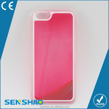 Shenzhen Wholesale Luminous Liquid PC quicksand back cover phone case for iphone5