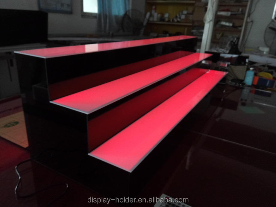 Acrylic led lighted base display case for drink bottle