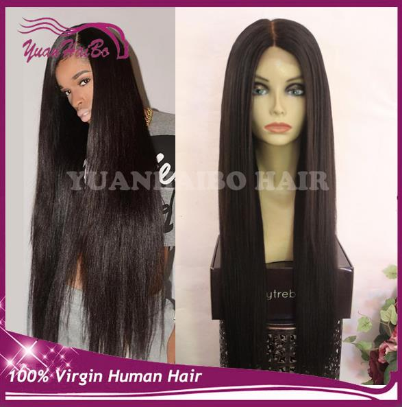 New Arrival! #1b silky straight 8a quality brazilian virgin real hair extra long ponytail lace front wig