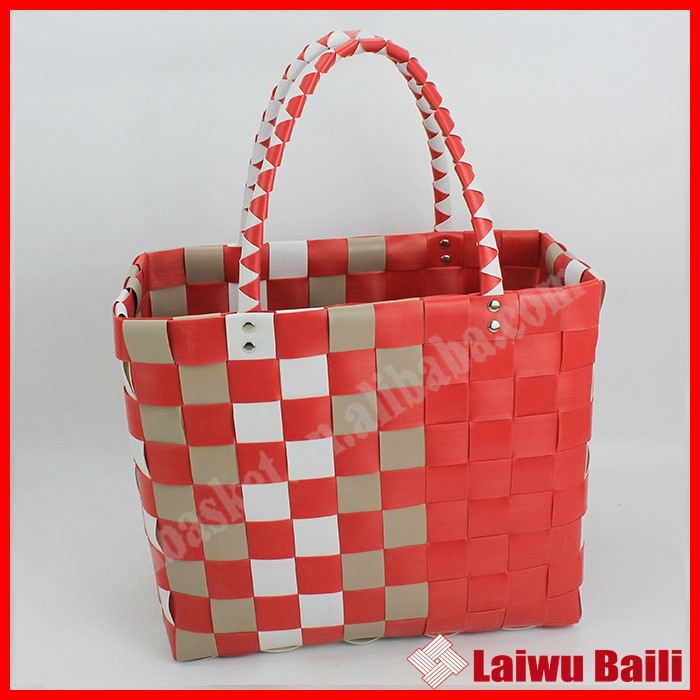 Handmade colorful PE woven plastic bag shopping