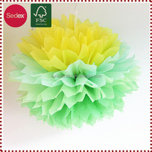 High Quality 8inch White Tissue Paper Pompom Flowers for Baby Party Decoration