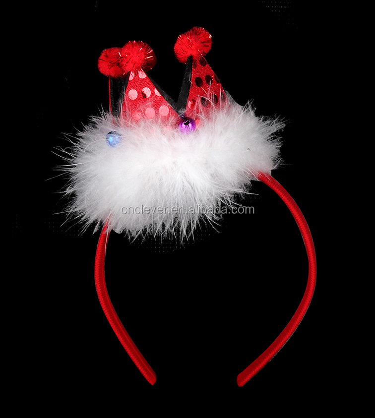 Customized party accessories red color crown with white feather christmas headband