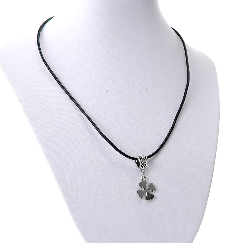 "Cowhide Leather Necklaces Antique Silver Four Leaf Clover With Lobster Clasp 43cm long(16 7/8""),10PCs,8seasons"