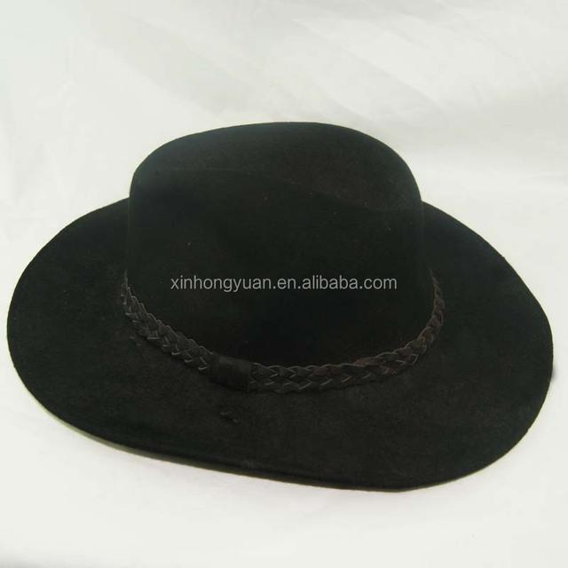 black color wide brim men's hats wool felt hat with high quality
