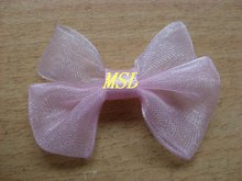 MSD wholesale pre-made organza ribbon bow tie for dress decoration