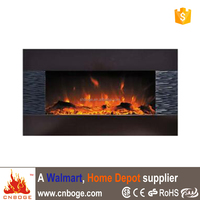 Eco flame electric wall mount wooden fireplace with log for Europe
