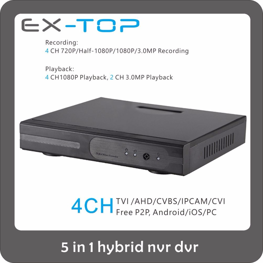 Max Support 3MP Video Input Network 12V Hybrid 4CH CCTV DVR China Price
