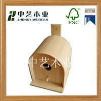 FSC art minds garden decor solid pine laser engraved blank mini wooden bird house for protecting birds