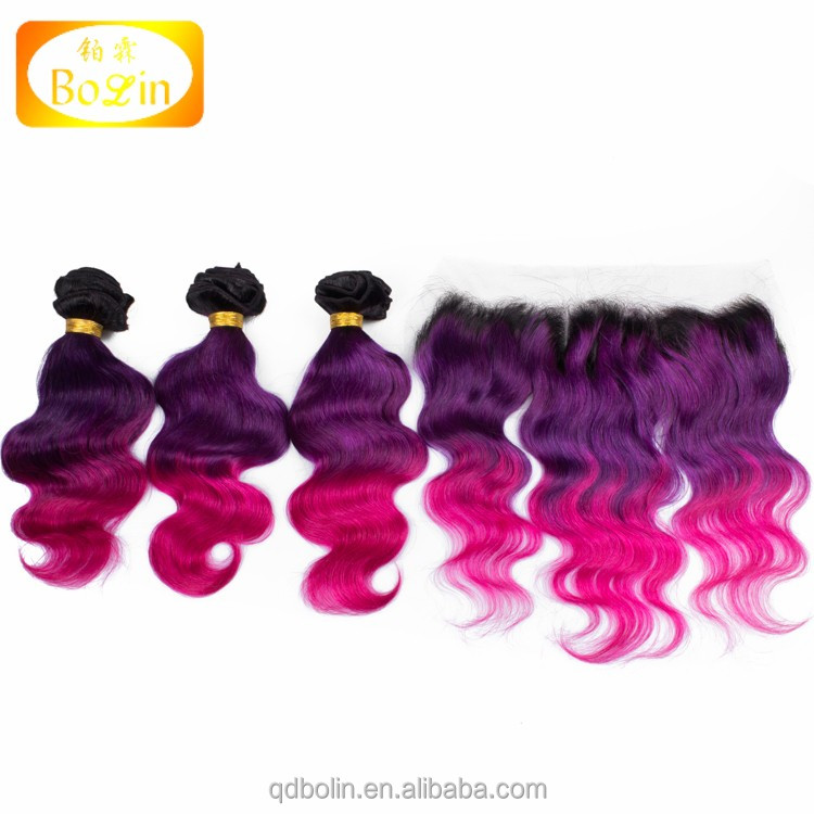 Cheap Indian Hair Full Lace Frontal Closure, 1b purple pink 13x4 With 3 Bundles Body Wave Virgin Hair, Ear To Ear Lace Frontal
