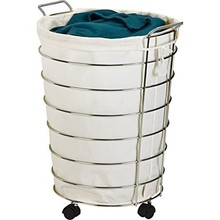 Chrome Steel Wire Canvas Rolling Laundry Hamper Basket