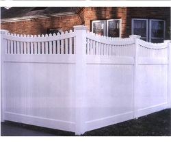 Vinyl picket-top pvc privacy fence white 8ft