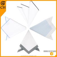 Custom Wholesale Fashion Men Cheap Solid Color 100 Cotton White Handkerchief