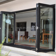 Aluminum frame triple double glazed insulated interior room folding door