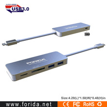 Type-C hub high speed aluminum alloy usb hub type c with PD Charging function for macbook