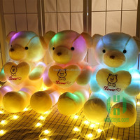 HI CE 2017 new year cute plush led teddy bear toy with heart for valentines day gift