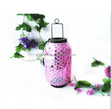 Garden Table Decoration Handmade Hanging Glass Pink Mosaic Large Oil Lamp