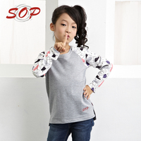 Wholesale kids wear fancy girl long sleeve t shirt