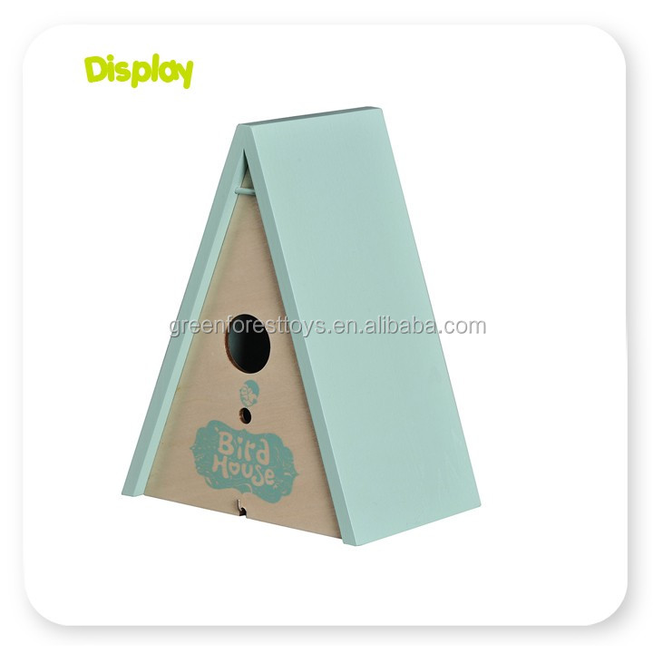 Customized small wood crafts bird house with low price egg bird toy