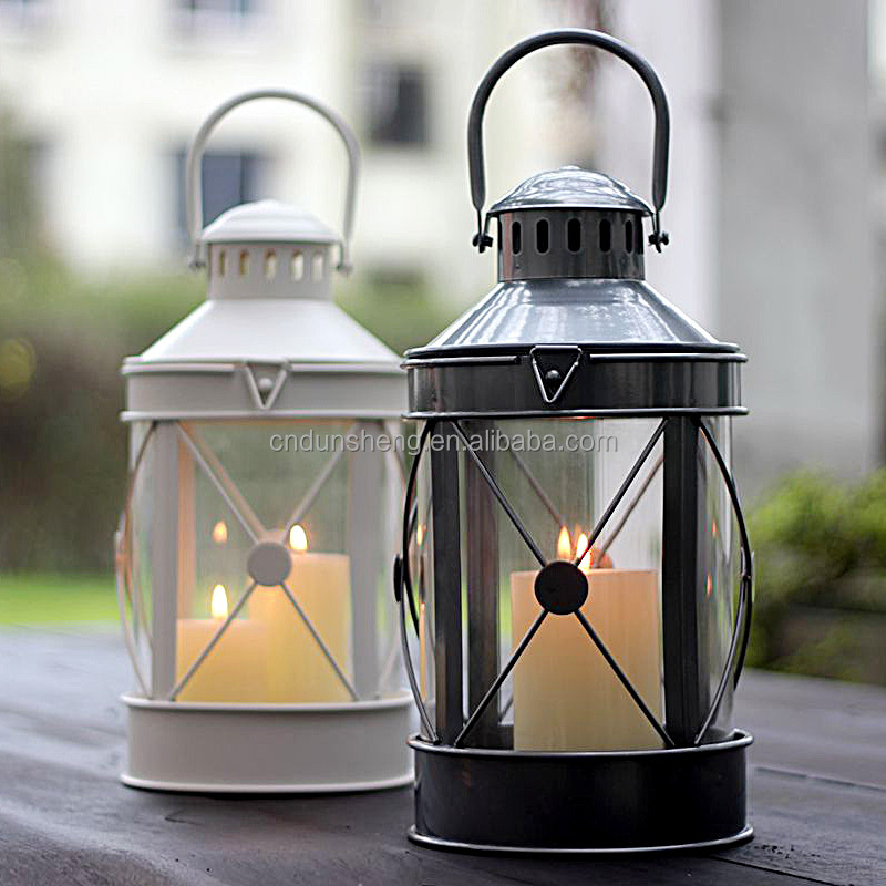Vintage Hanging Hurricane Candle Warmer Lantern,Iron Glass Candle Holders