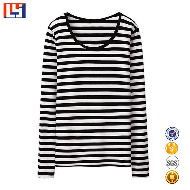 Women black and white bulk stripe t shirt