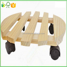 Garden Decorative Wooden Moveable Flower Pot Stand With Wheels