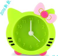 2016 Promotion gift Silicone cat shape Swing Desk-top clock