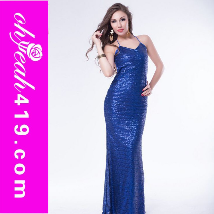 In shock royal blue colour dress women tight dress sexy low back clubwear