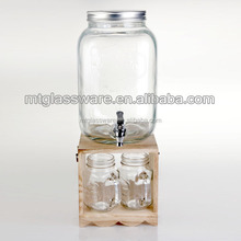 1 gallon Glass Mason Jar Beverage Drink Dispenser On wooden Stand With Leak Free Spigot / faucet, Clear