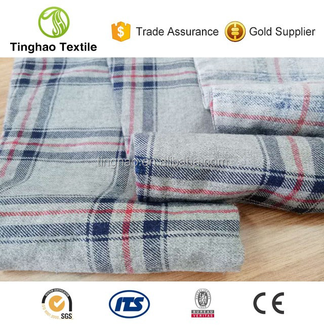 Wholesale grey cotton composition woven plaid shirts fabric
