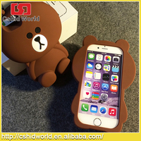2015 Funky Cute 3D Rilakkuma Bear Soft Silicone Phone Case Back Cover For iPhone 5 5s 6 6 Plus