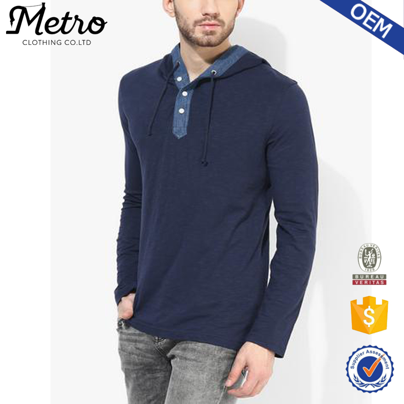 Fashion Newest Style Navy Blue Long Sleeve Hood T Shirts