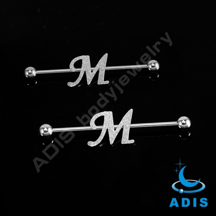 Newest style fashion body jewelry polish wholesale letter industrial piercing balls