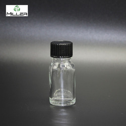 Hot empty 10ml clear cosmetic packaging essential oil perfume glass bottle with phenolic screw cap for spa