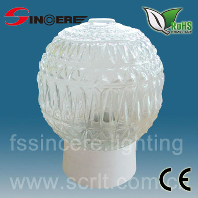 IP54 E27/E14 glass/PMMA outdoor ball light globe fitting