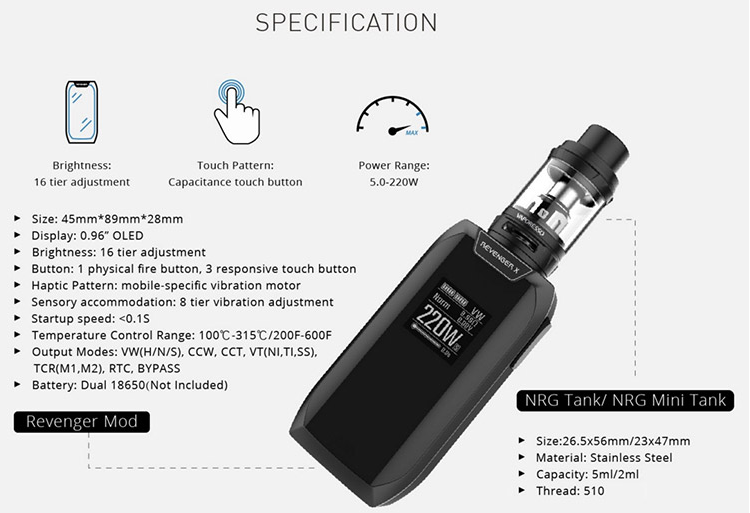 Wholesale 220W Revenger X Vaporesso Revenger X Kit With 2ml (EU)/ 5ml NRG Mini Tank
