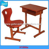 Height Adjusting Commercial School Lirbrary Furniture Student Desk and Chair