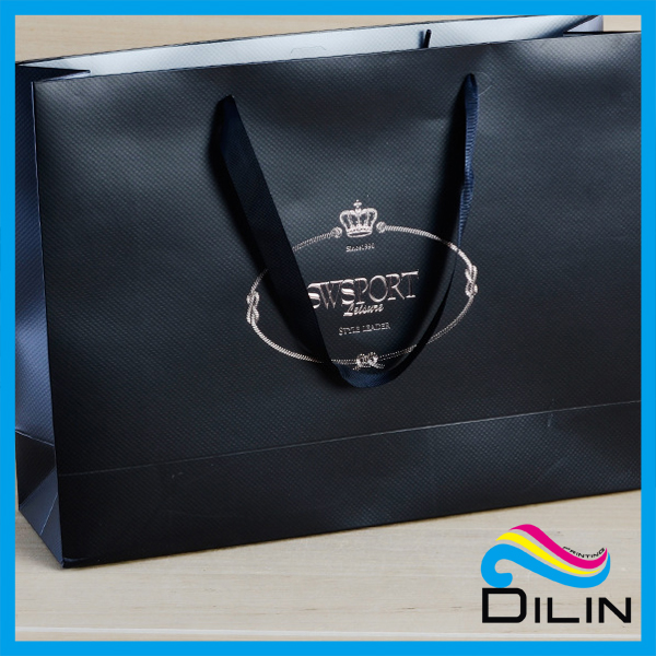 wholesale new style high quality printed black shopping textured paper bag with handles