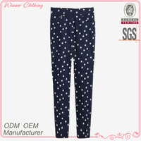 Casual trousers manufacturer full length printed new pants design for girl