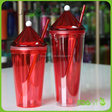 Food Grade Double Wall PS Plastic Drinking Tumbler Cups with Straw and Cover