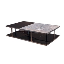Hotel Villa Modern Luxury Cubic 304 Stainless Steel Imported Beech Wood Frame Marble Coffee Table Set