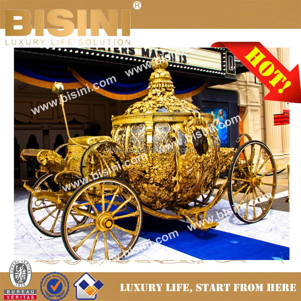 BISINI Princess Cinderella pumkin Car luxury horse saddle royal golden carriage wedding carriage(BG11-M052)