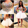 2015 White A-line Organza Sequin Beaded Crystal Mini White Short Prom Dresses Cocktail Dress FMG25