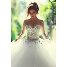 Heavy Beaded Scoop Neck Long sleeve princess Ball Gown wedding dress Bridal Party Gowns
