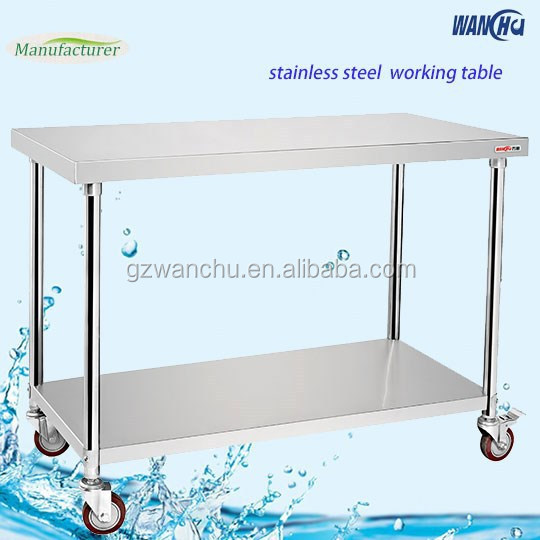 Folding Kitchen Stainless Steel Work Table With Wheels And Under Shelf