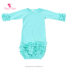 Bright Green Bottom Ruffled Hand Made Cotton Baby Sleeping Clothes