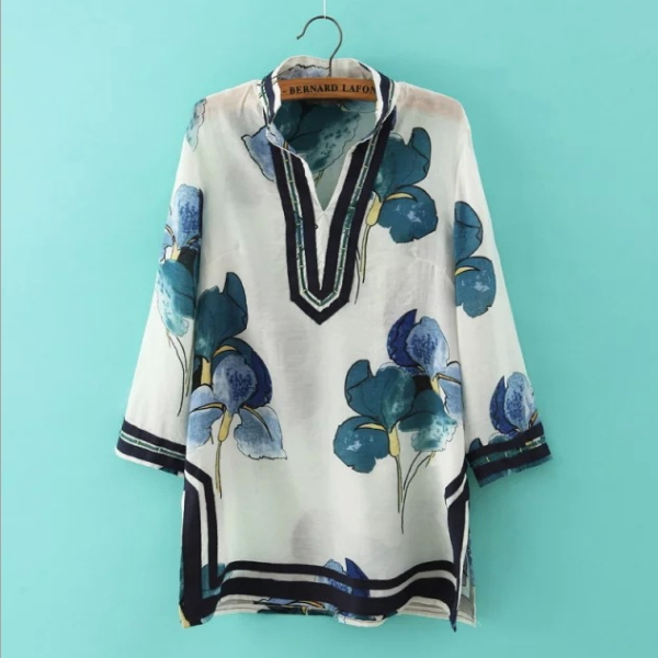 MS67080W fashion long sleeve printed women blouse trading company