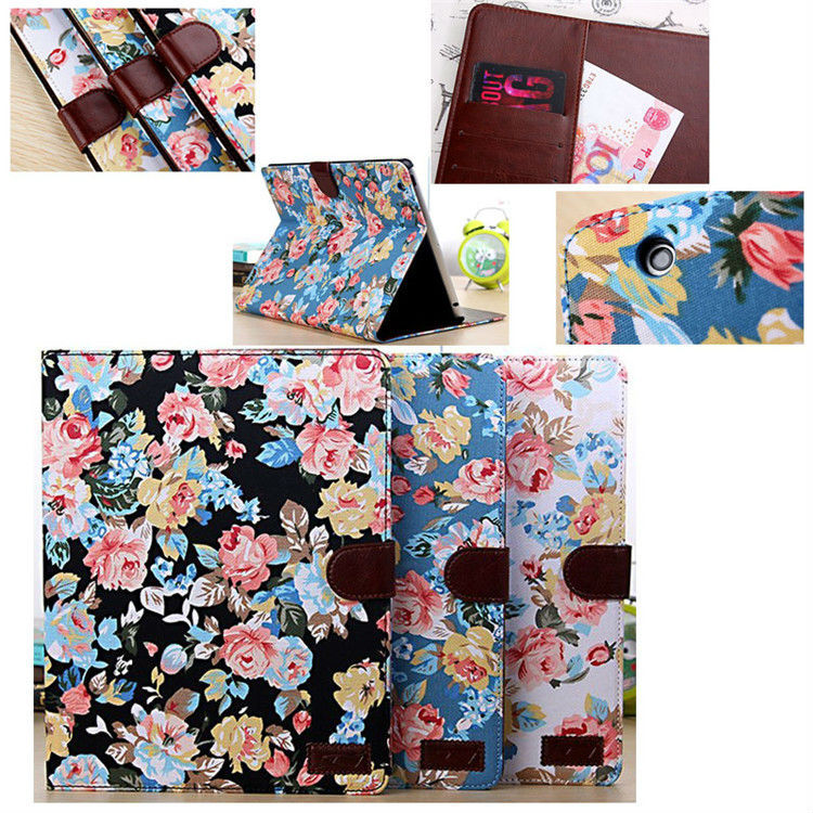 In Stock Factory Price Flower Leather Case for iPad 2/3/4 with Card Slots