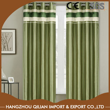 Green And White Faux Polyester Silk Lined Blackout Curtains