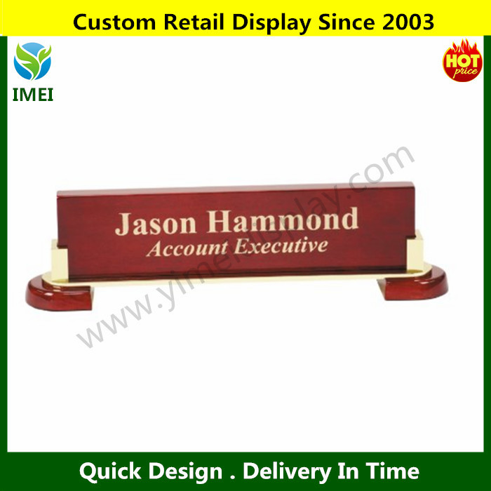 wood Desk Name Plate with the Gold Leaf Style Free Engraving YM1-878